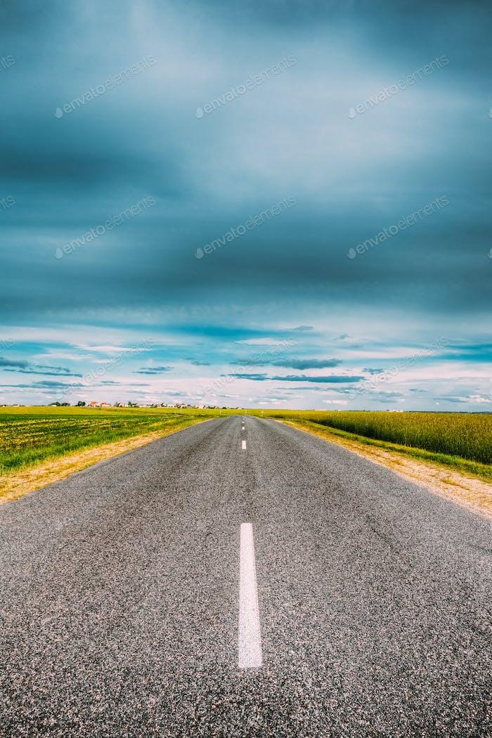 Asphalt Freeway, Motorway, Highway Country Road In Countryside