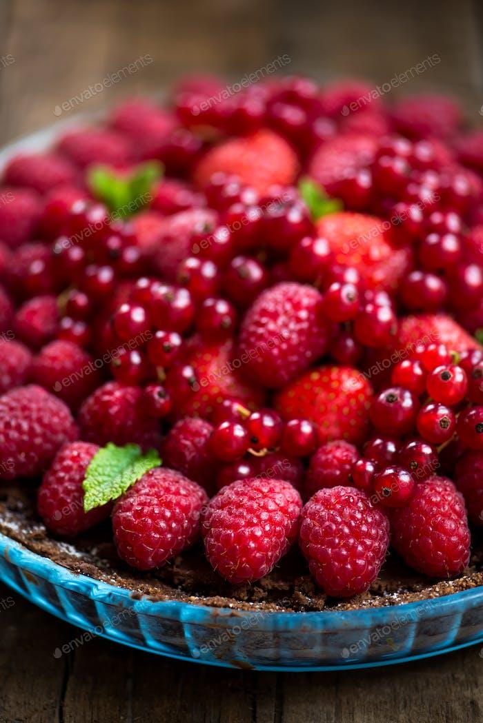 Homemade Chocolate Tart with Berries