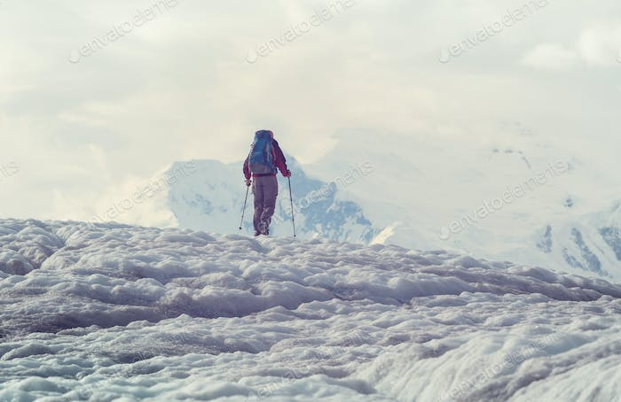 Hiker on glacier