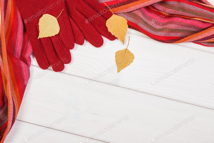 Frame of woolen gloves and shawl for woman, clothing for autumn or winter