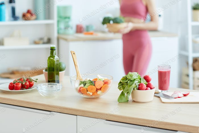 Healthy Salad Ingredients in Kitchen