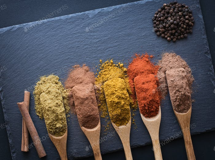 colorful herbs and spices