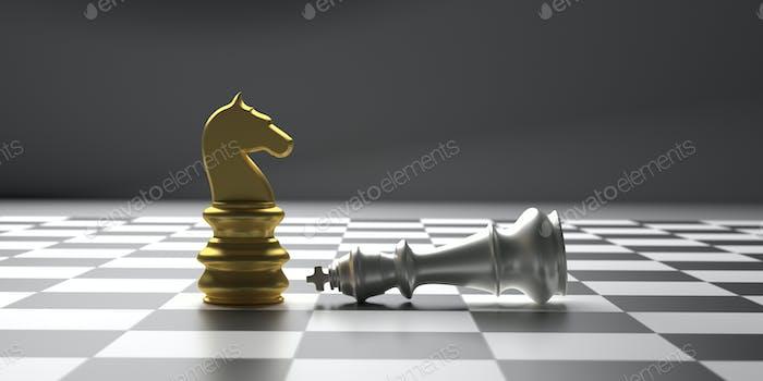Chess knight gold standing winner on chessboard background. 3d illustration