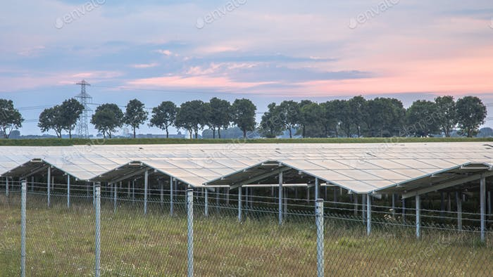 Solar panel field orange sunset sky