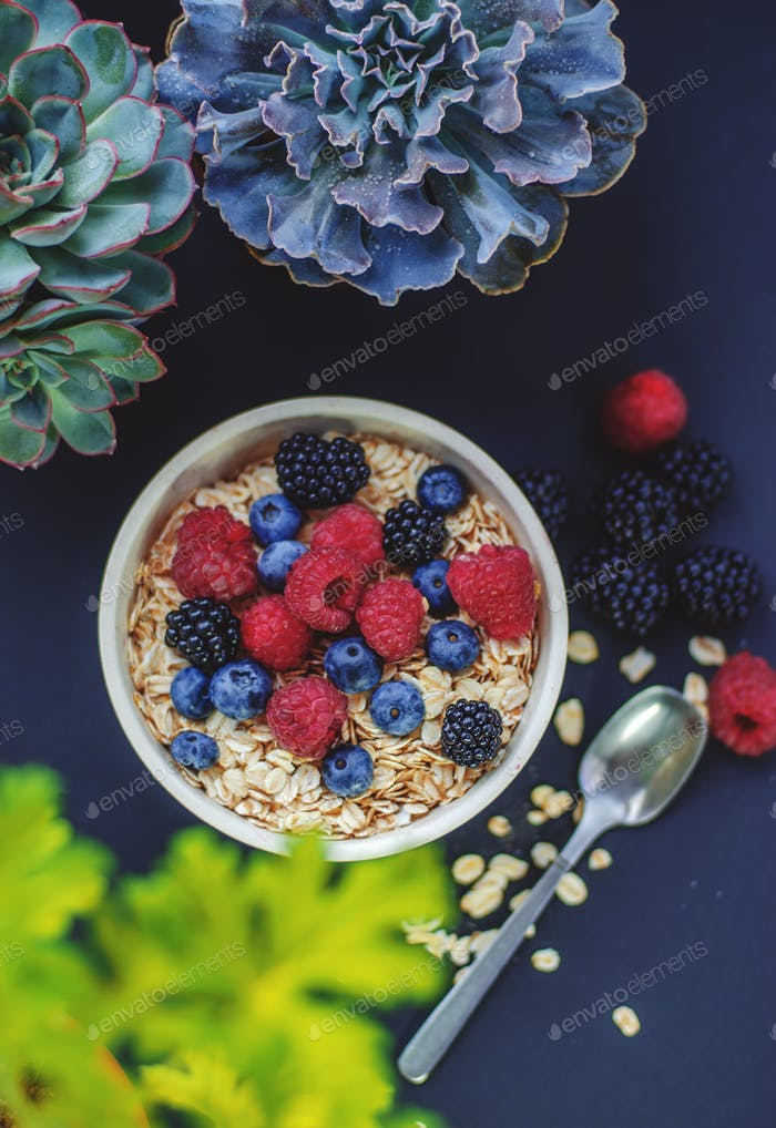 Healthy breakfast. White plate with oatmeal strewn and different berries on a blue background