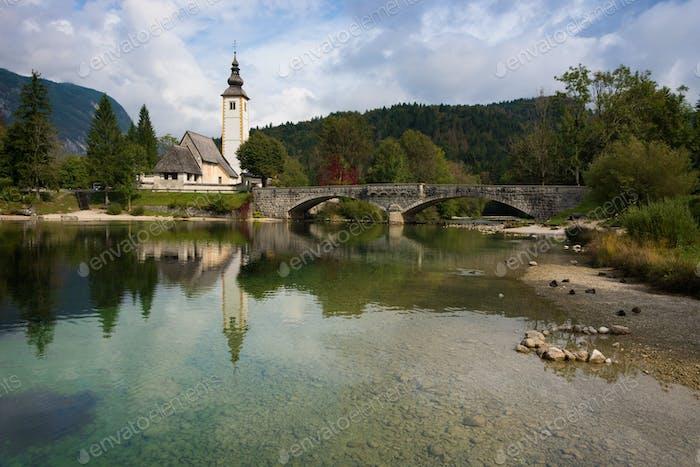 Church at Bohinj Lake near Bled in Slovenia
