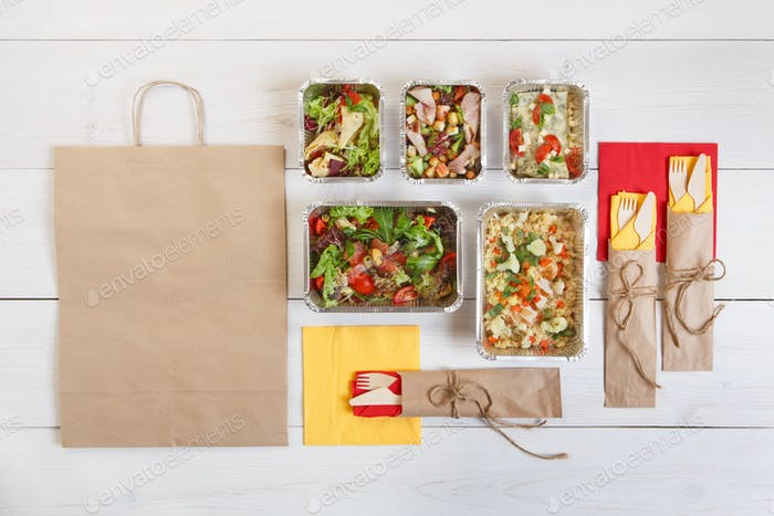Healthy food take away in boxes, eating right