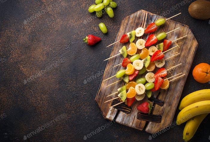 Fruit skewers, healthy summer snack