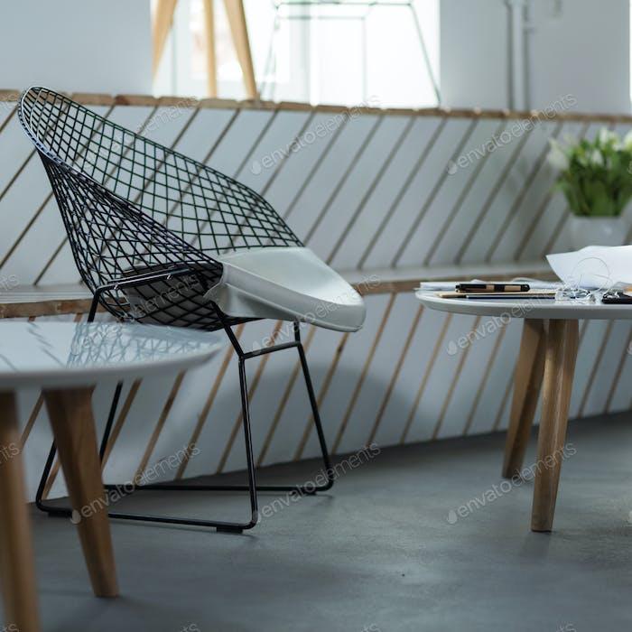 Designed chair in modern restaurant