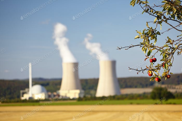 Nuclear Power Station And Apple Tree