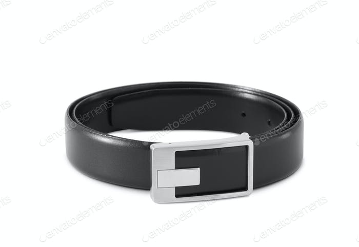 men's black leather strap