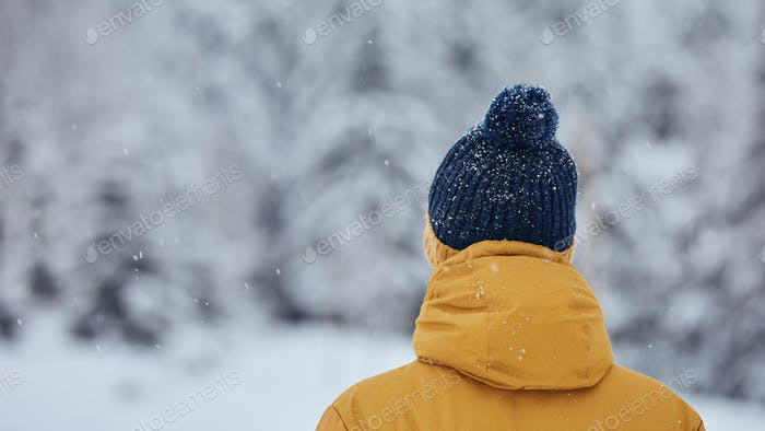 Rear view of man in winter nature
