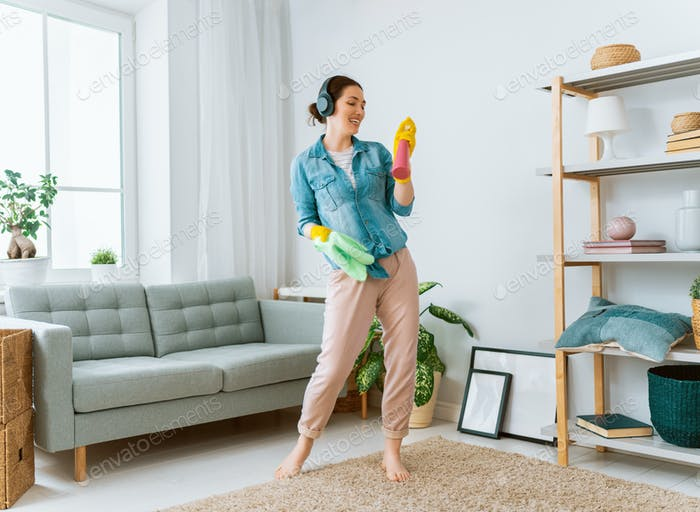 woman doing cleaning the house