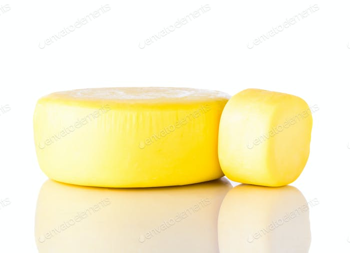 Yellow Wheel Kashkaval Cheese on White Background