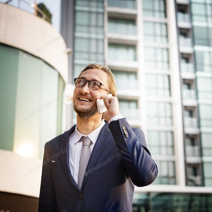 Business Man Outdoors Phone Call Concept