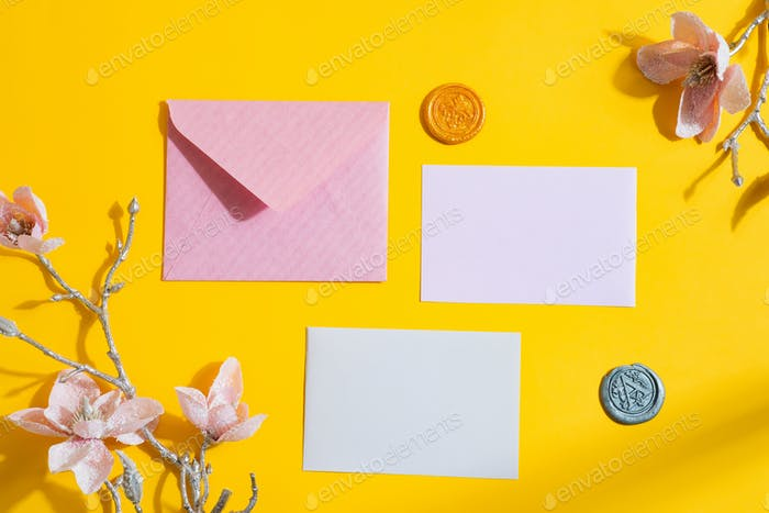 Congratulation festive letter with cards and flowers