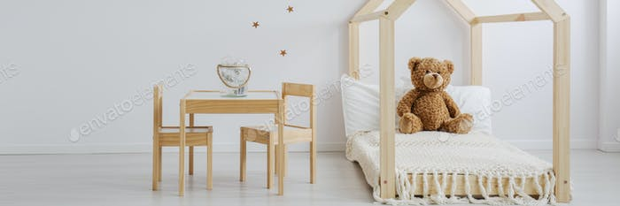 Baby room with wooden furniture