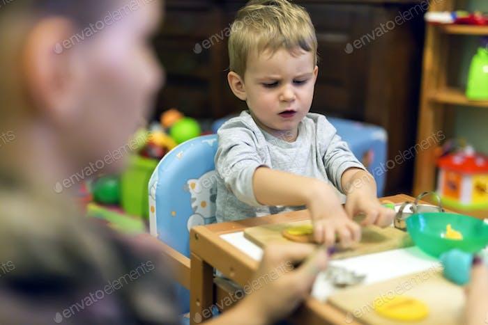Crative boy in his workshop