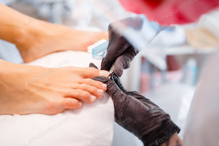 Beautician salon, pedicure, clean procedure