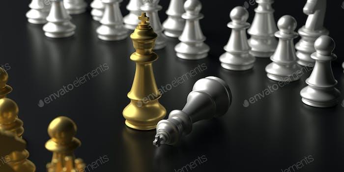 Schachkönig Gold stehend Sieger auf schwarzem Hintergrund. 3D Illustration