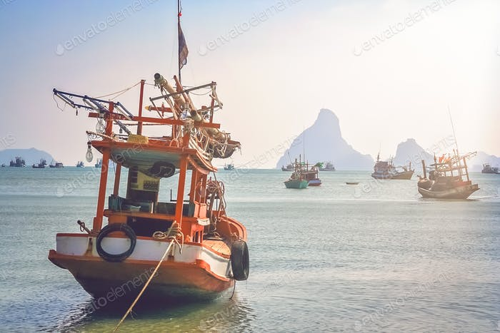 Wooden fishing boat on the coast of Thailand