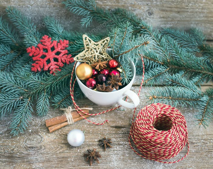 Christmas (New Year) decoration set: a cup full of colorful Chri
