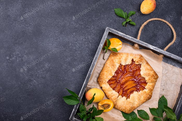 Sweet homemade galette pie with apricots