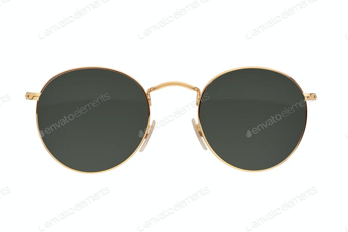 Gold frame round black sunglasses isolated on white.