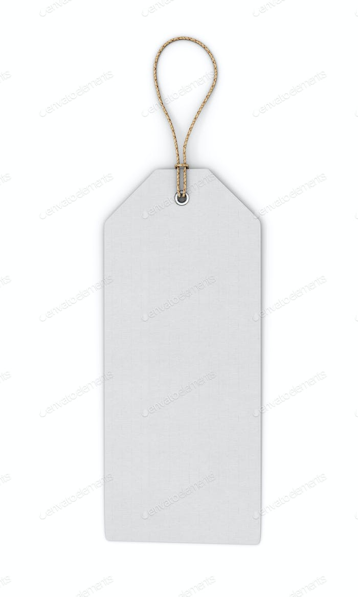 Blank white label isolated on white background. Front view. Temp