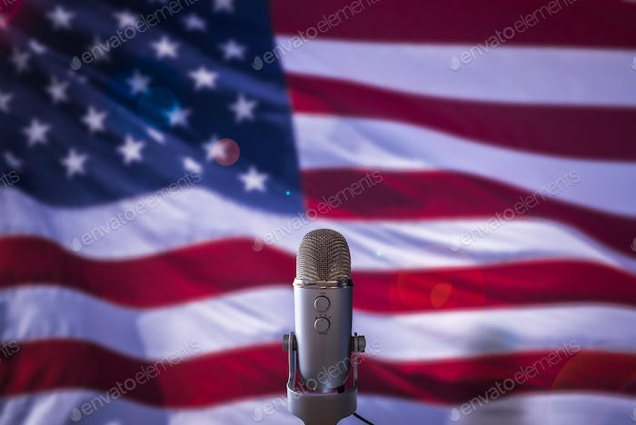 US Flag And Microphone
