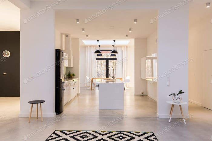 Big white kitchen with island