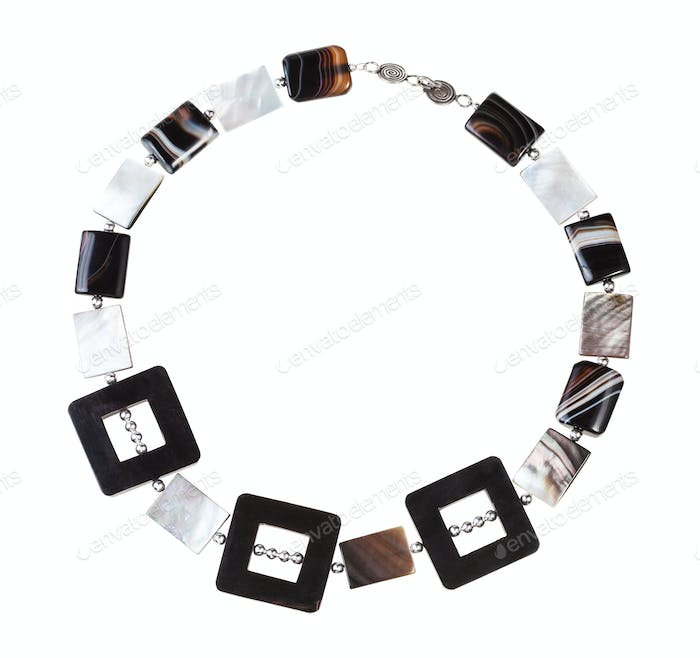 necklace from horn frames, agate and nacre beads