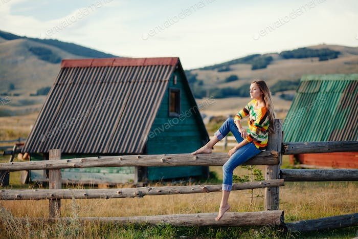 woman relax at countryside in mountains