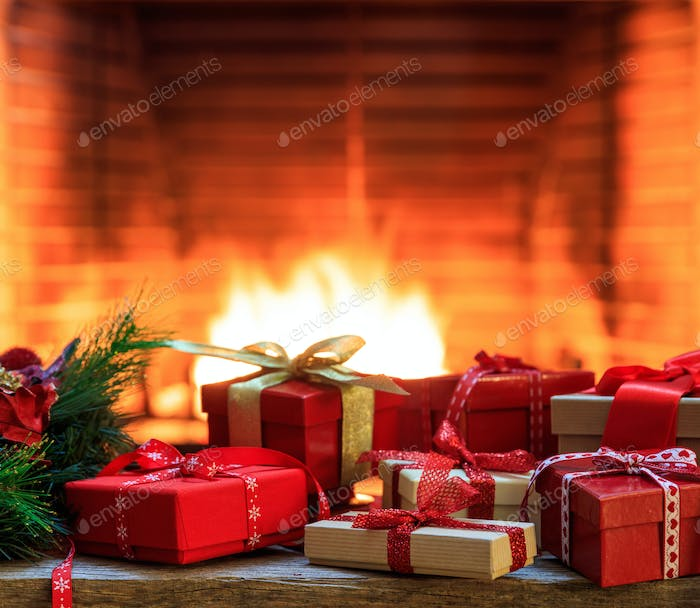 Fireplace burning wood logs, cozy warm home christmas gifts