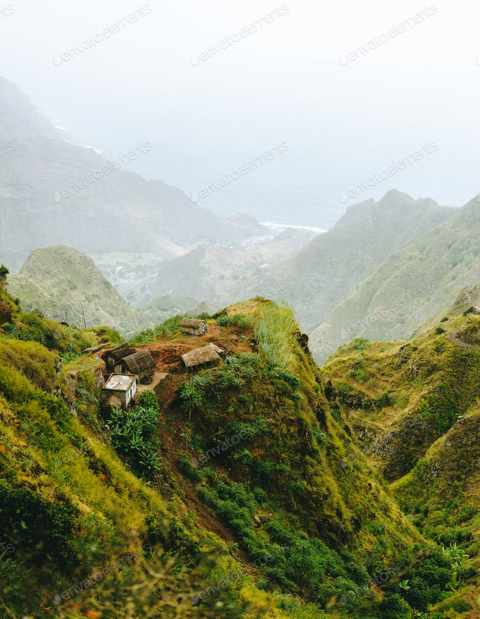 Santo Antao Cape Cabo Verde. Remote village on mountain top on hiking trail in Ribeira de Janela