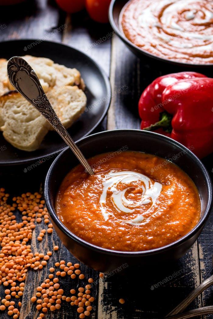 Pumpkin soup with heavy cream