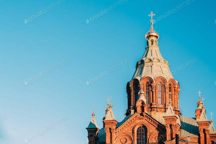 Helsinki, Finnland. Nahaufnahme Uspenski Kathedrale