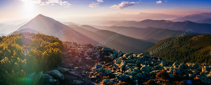 magic sunset in the mountains