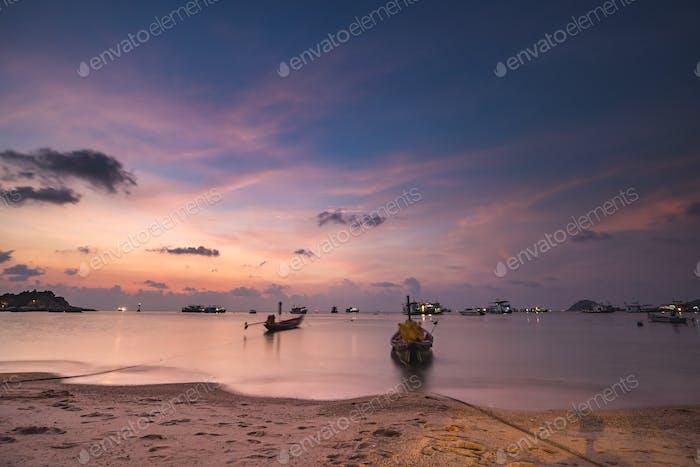 Thailand ocean pier: ships, boats, yachts at sea bay sand shore of asian transportation. Thai harbor