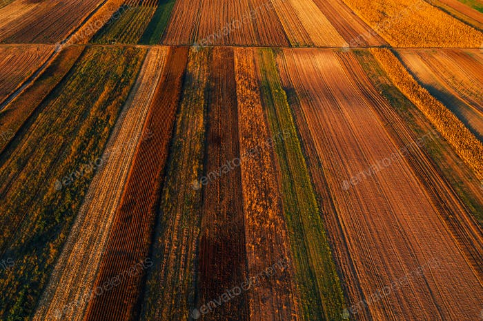 Colorful countryside patchwork background, cultivated agricultur