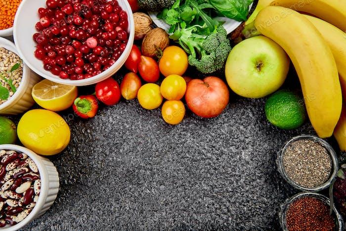 Healthy food background, trendy Alkaline diet products.