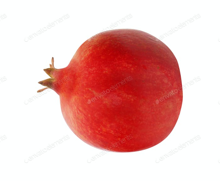 One pomegranate fruit on a white background