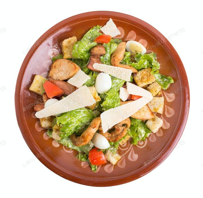 Delicious chicken caesar salad.
