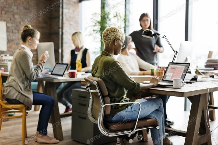 African Descent Brainstorming Working Workplace Concept