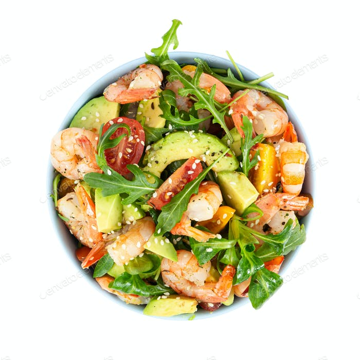 Salad with avocado, shrimp and arugula.