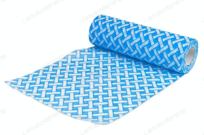 Rolled textile with blue and white pattern