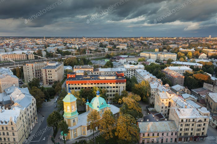 Aerial panorama of Riga