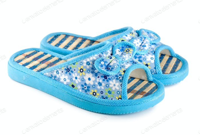 Blue slippers isolated