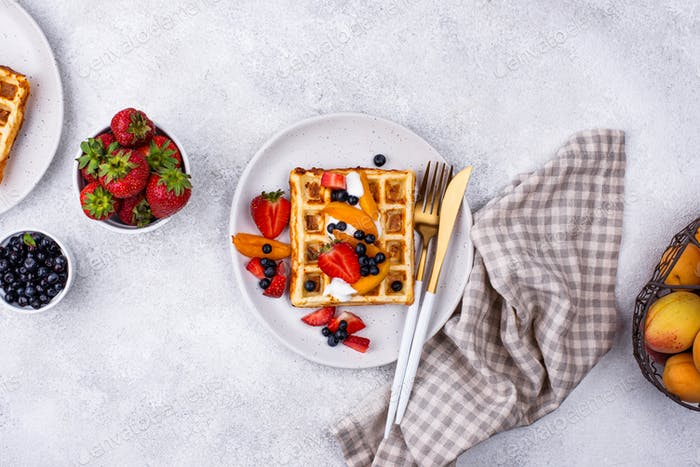Waffles with berries and fruit