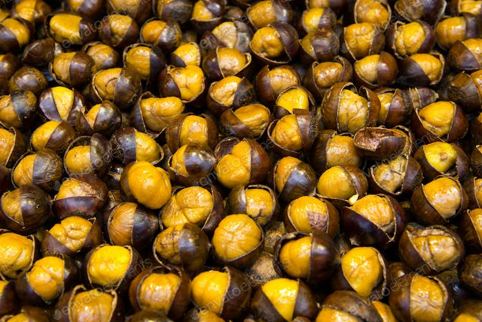 Roasted chestnut at street stall